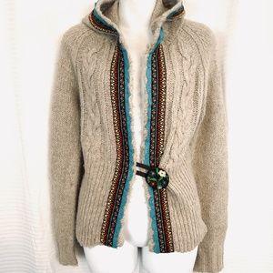 FREE PEOPLE Hooded Beige Cardigan Wool Sweater  L